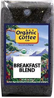The Organic Coffee Co Breakfast Blend Whole Bean, 2 Pound Bag, USDA Organic Whole Bean Premium Coffee, for Use with at-Hom...