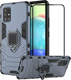 2ndSpring Case for Samsung Galaxy A71 5G with Tempered Glass Screen Protector,Hybrid Heavy Duty Protection Shockproof Defe...