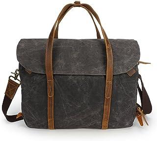 Men's Accessories Brown/Gray/Green,Vintage Crazy Horse Leather Waxed Canvas Messenger Bag Laptop Briefcase Satchel Shoulder Bag Bookbag with Detchable Strap Outdoor Recreation (Color : Gray)