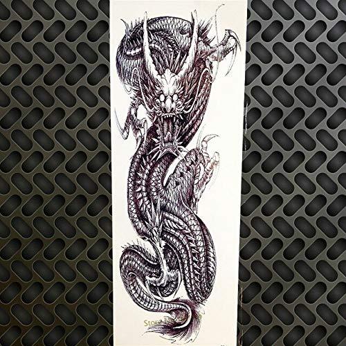 HXMAN 3 stks Zwarte Draak Totem Tijdelijke Tattoo Grote Grote Grote Bloem Arm Mouw Water Transfer Tattoo Vrouwen Mannen Schouder Tatoo Gqb-069