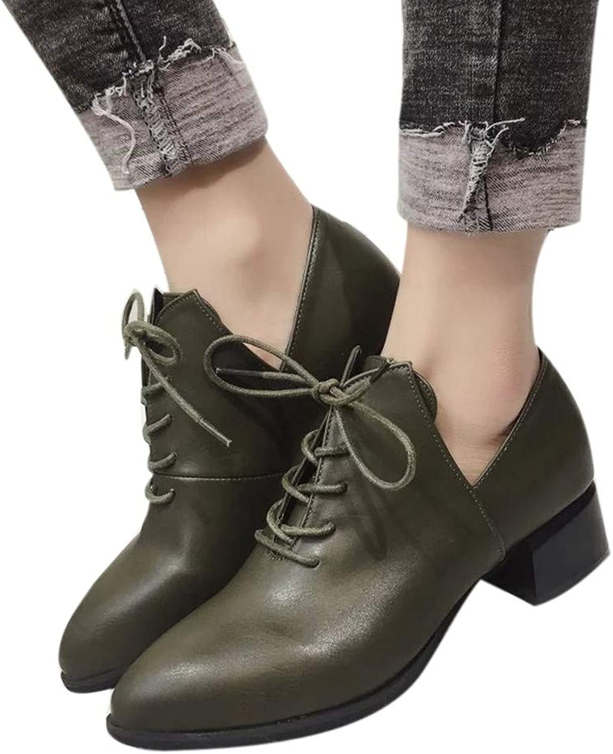 Ankle Boots Women British Thick Heel Pumps Boots Lace-Up shoes High Heels Boots