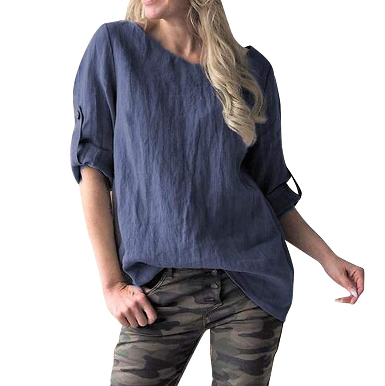 Women's Casual Solid Shirts Plus Size Retro Loose O-Neck Middle Sleeve T-Shirts Top Blouse Summer Spring Tees S-5XL h0506066121