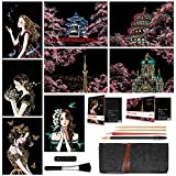Scratch & Sketch Art Paper(A4) for Kids & Adults, Rainbow Painting Night View Scratchboard, Engraving Art Craft Set: 8 Sheets Scratch Cards & Scratch Drawing Pen, Brush (Sweet Girl Cherry Blossoms)