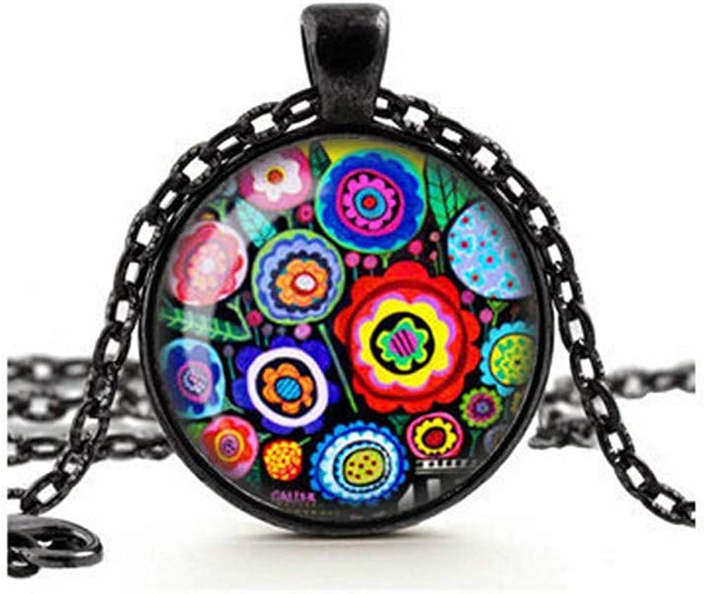 Dandelion Multi Coloured Flowers Necklace, Boho Pendant, Hippy Jewelry, Colorful Millefiore Flowers, Glass Cameo Pendant Cabochon Tile Necklace