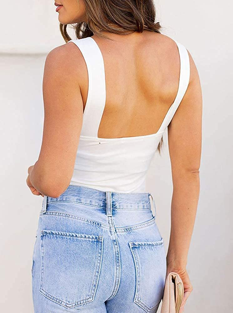 REORIA Womens Sexy Square Neck Sleeveless Tank Tops Bodysuits Clubwear