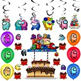 BAIBEI 43Pcs Birthday Party Decoration Set, Cake Topper, Cupcake Toppers, Hanging Swirl Decorations, Balloons for Party Decorations, Among Us Birthday Party Decoration Set