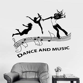 TYLPK Dance and Music Vinyl Wall Decals Music Dance Floor Party Nightclub Stickers Vinilos decorativos de salón Hip-hop Vinilos decorativos negro 47X42CM