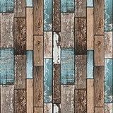 Papel pintado para pared de color marrón, adhesivo de madera para muebles, 45 cm x 500 cm, aspecto de madera natural, color marrón, para pared, armario, cocina, mesa, muebles, vinilo