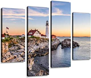 Portland, Maine, USA Canvas Wall Art Hanging Paintings Modern Artwork Abstract Picture Prints Home Decoration Gift Unique Designed Framed 4 Panel