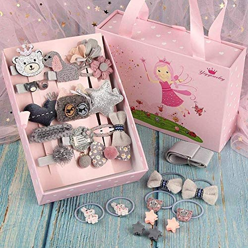 Gracious Mart - Cute Girl's Hair Clips Beautiful Baby Girls Hair Accessories Set Hair clips with Gift Box - [Multi color   24 PECS]