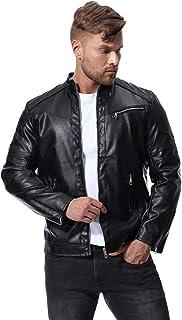 MISSMAO Mens Winter Windproof Zip Up Washed Biker Leather Jacket