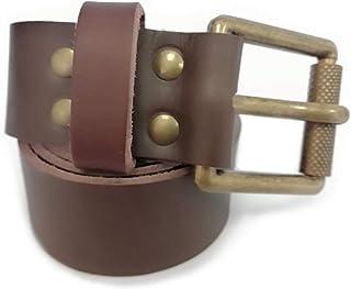 حزام للرجال من الجلد المحبب بالكامل مع إبزيم ذو فوهة واحدة ثقيلة - نمط ريفي - حزام اكسسوارات للرجال للعمل والعمل وغير رسمي