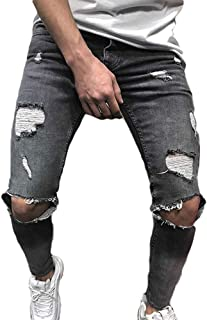 Elecenty Pantaloni sportivi da uomo Pantalone attillato strappato da uomo slim fit biker con cerniera jeans skinny sfilacciato
