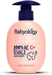 Babyology – 100% Edible Ingredients - Organic Baby Lotion - Clinically Tested – 6,67 FL. OZ - Calming & Rich Moisture for Sensitive Skin - Daily Care - Non-scented - Perfect Baby Shower Gift