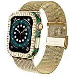 JUBECO Shinning bling Clad Protective Case with Stainless Steel Watch band Compatible with iwatch 40mm 42mm 44mm, Fit for iwatch SE Series 3/4/5/6. (44mm/Green-Golden)