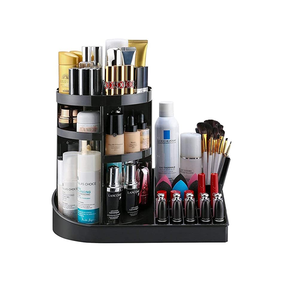 Greatbeauty-化粧品収納ボックス 360度回転 5段高さ調整 メイクアップオーガナイザー コスメティック & ジュエリーボックス アクリル製 ブラック
