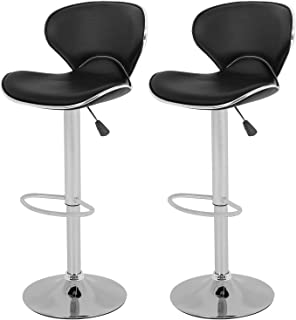 Vnewone Set of 2 Swivel Barstools Height Adjusta with Back Dining Kitchen Room Counter PU..