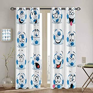 Sports Decor Collection Room Darkening Curtains for Bedroom Cartoon Soccer Ball with Many Expressions Bored Laughing Happy Smiley Image Black Out Window Curtain W52 x L108 Inch Blue White Red Pink
