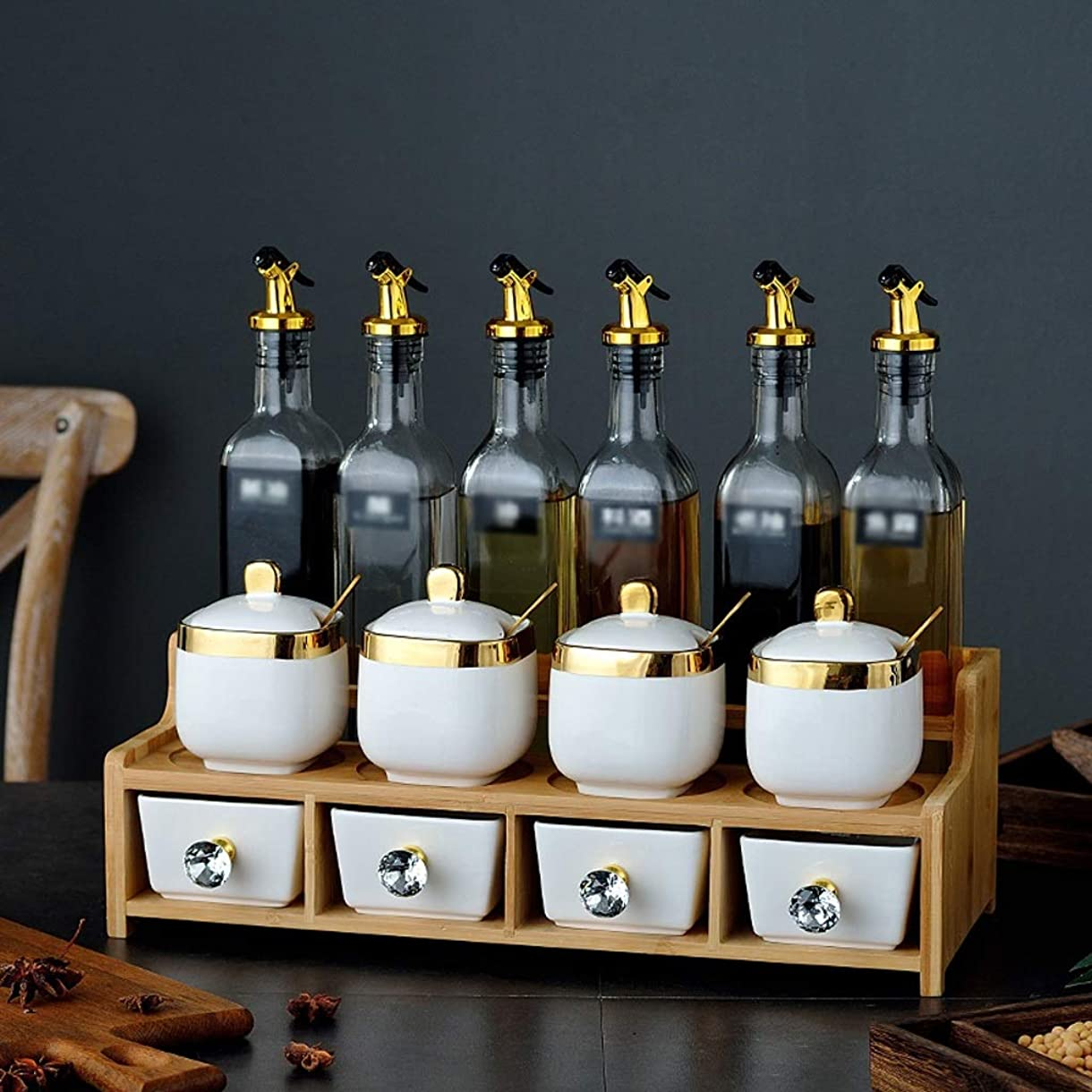誤って不確実ポーズ香味料入れ 白磁調味料の瓶と二重層木製ホルダーにセットしガラスオイルボトル、スパイス調味醤油のための蓋とスプーンを持つコンテナ、14ピースセット スパイスオーガナイザー (Color : B)