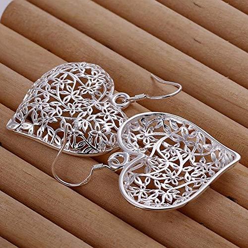 JY Pendientes de Corazón Esmerilado Pendientes de Plata Simples en Forma de Corazón Mujer/Acero Inoxidable/Alergia/Plata Brillante/Peque?o Exquisito/Pendientes de Gancho J