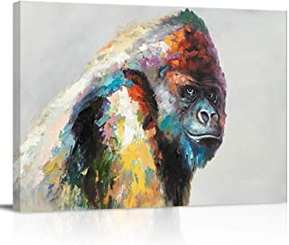 Chucoco Oil Paintings On Canvas Wall Art Colorful Clever Gorilla Artwork Abstract Print Artwork with Framed Ready to Hang, Living Room Kitchen Corridor Bedroom Office Decor Abstract Art Wild Animal