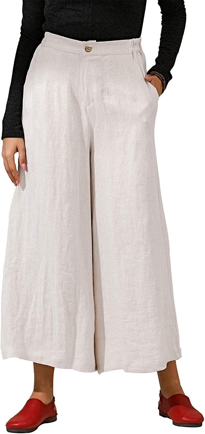 Les Large discharge sale umes Womens Casual Linen Super intense SALE Trousers Elastic Relaxed Crop Waist