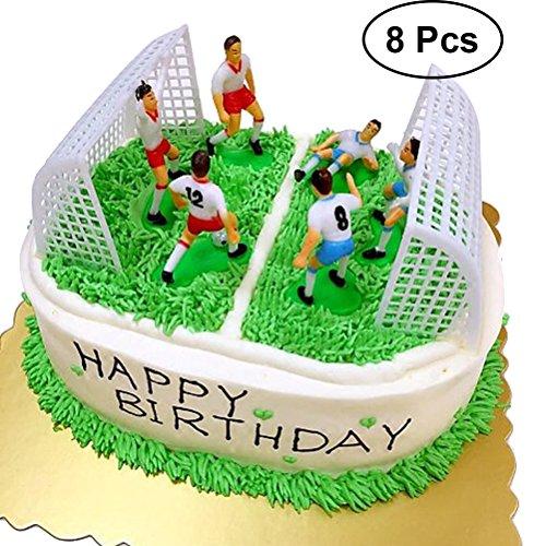 Yeahibaby 8 Unids Fútbol Creativo Cake Topper Jugador de Fútbol Cake Decor Birthday Mold Set para Niños (6 Unids Jugadores y 2 unids Gates)