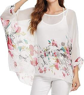 Qunsia Women Chiffon Blouse Floral Batwing Sleeve Beach Cover Up Loose Tunic Shirt Tops¡