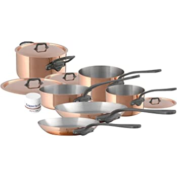 Mauviel 6450.06 10 Piece Cookware set Cast stainless Steel Handle with Iron Color Finish, Copper
