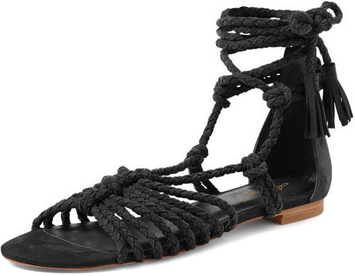 NJ Womens Open Toe Strappy Gladiator Flat Sandals Ankle High Lace-up Fringes shoes