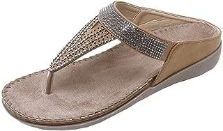 FORUU Women Flat Shoes Bead Bohemia Lady Slippe Sandals Peep-Toe Outdoor Shoes Slipper