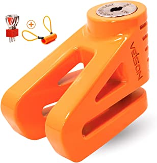 Acekit Disc Lock For Motorcycle and Bicycle With 6mm Lock Pin And Remind Cable Heavy Duty Body No Key To Lock-Orange