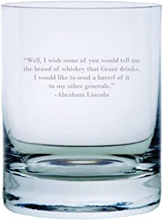 Abraham Lincoln Quote Etched 11oz Stolzle New York Crystal Rocks Glass