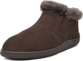 Men's Suede Sheepskin Fur Winter Boots House Shoes Slippers