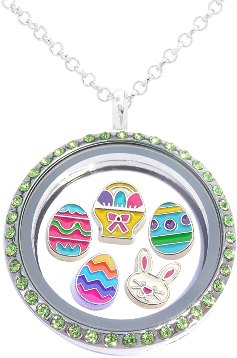Easter Floating Locket Set Including Necklace and 5 Locket Charms - Eggs and Bunny and More Jewelry