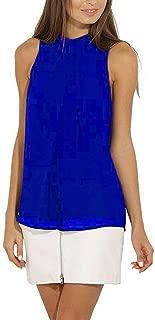 Elonglin Women's Sleeveless Chiffon Tank Tops Casual Tunic Double Layers Blouse Vest Tops
