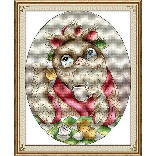Everlasting Love Cute Owl Chinesisch Kreuzstich Kits Gestempelt Ökologische Baumwolle Gedruckt 14CT 11CT DIY Weihnachtshochzeitsdekoration Kreuzstich-Malerei (Color : DA277, Size : Unprinted cloth)