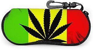 Wthesunshin Funda Gafas Marihuana rasta Neopreno Estuche Ligero con Cremallera Suave Gafas Almacenaje