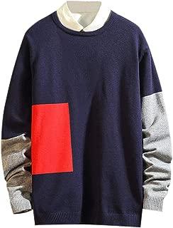 iLOOSKR Autumn Winter Mens Plus Size Fashion Long Sleeve Pacthwork Wool Sweaters Tops Cardigan