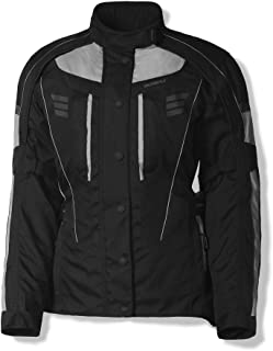 Olympia Durham Womens Waterproof Exteriors and Rain Gear On-Road Racing Motorcycle Jacket Silver Small