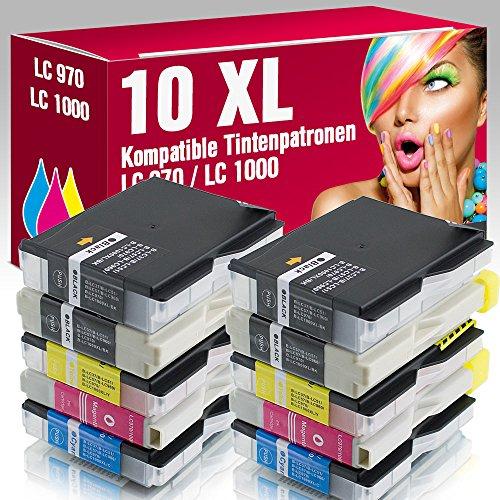 ms-point® 10x kompatible Druckerpatronen LC970 LC1000 für Brother
