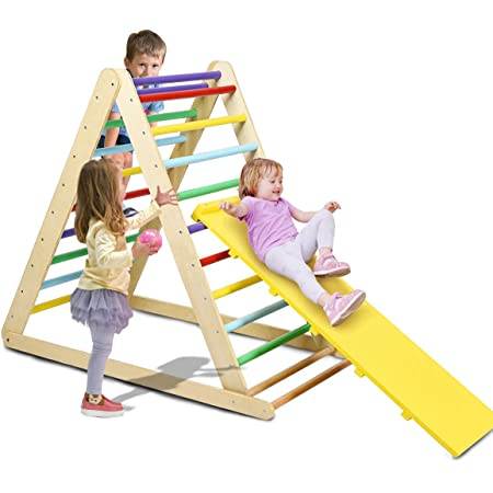 Costzon Foldable Triangle Ladder with Ramp, 3 in 1 Toddler Wooden Activity Climber for Sliding & Climbing, Safety Kids Indoor Toddler Climbing Toys, Suitable for Children Boys Girls (Rainbow)