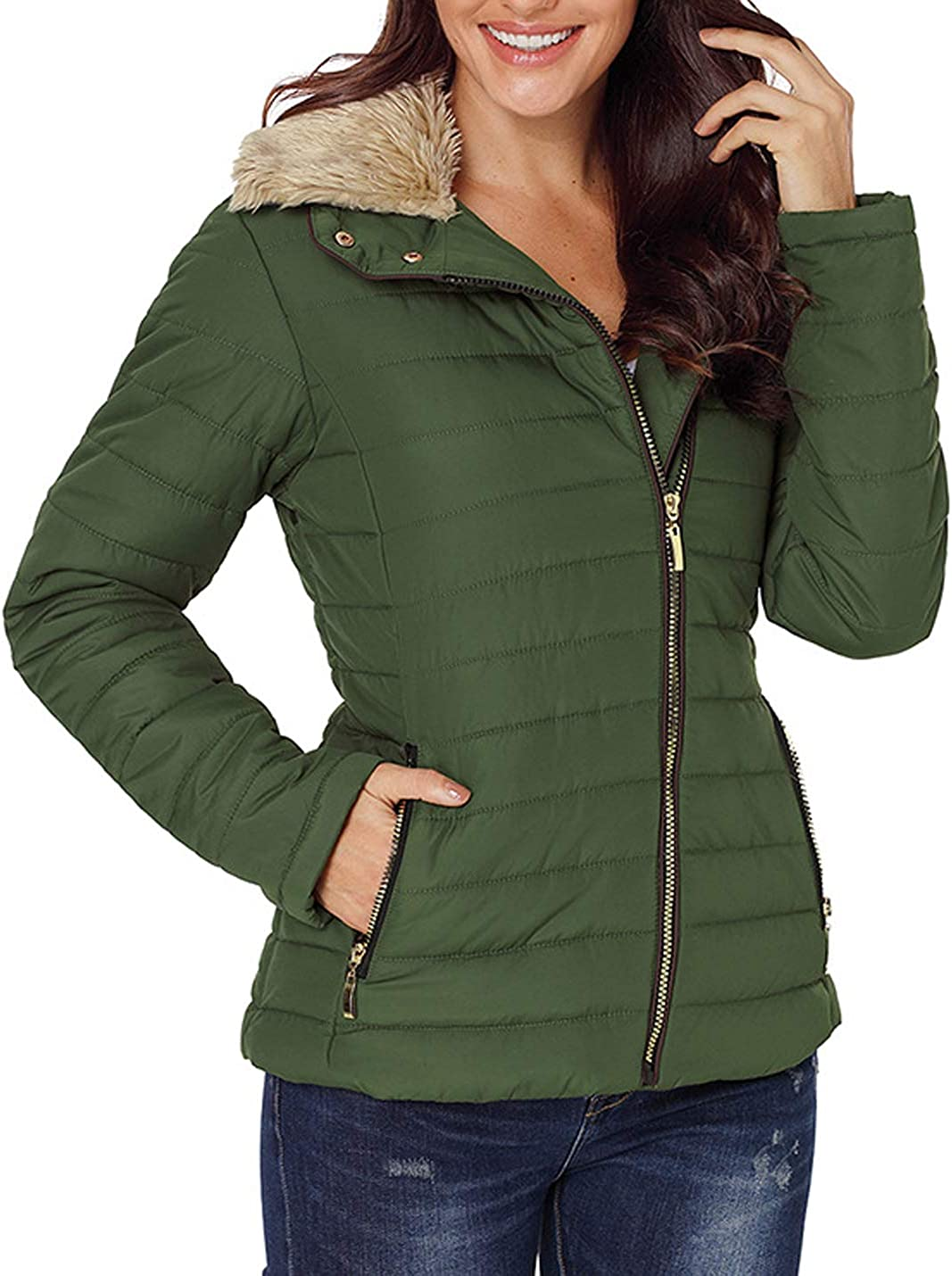 Hooever Womens Casual Slim Faux Fur Trim Neck Cotton Quilted Padded Jackets Parka Coats