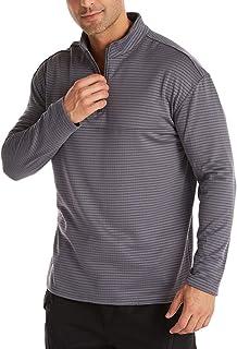 VANVENE Men Polar Fleece Pullover Sweatshirts Quarter-Zip Jumper Long Sleeve Tshirts Solid Color M-3XL