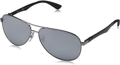 RAY-BAN Men's RB8313 Aviator Carbon Fiber Sunglasses, Shiny Gunmetal/Polarized Blue Mirror Silver, 58 mm
