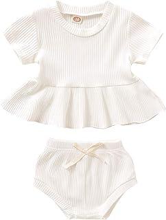 Baby Girl Short Sets Toddler Bowknot Belt Ruffled Strap Crop Tops+Short Pants+Headband 3Pcs Outfit Sets