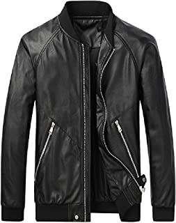 UUYUK Men Casual Stand Collar Faux Leather Zip Front Bomber Jacket