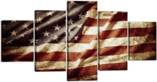 VIIVEI US USA Closeup Grunge American Flag Canvas Art Wall Decor Canvas Prints Wall Art Vintage Retro Style Flag Wall Pictures for Living Room Bedroom 5 Panel Framed Ready to Hang(60