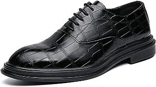 DADIJIER Oxfords Vestido Derby Zapatos para Hombres Plaid Toe Round Toe Cocodrilo en Relieve 5-Ojo Encaje Up Frestro Block...