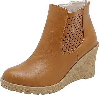 ELEEMEE Women Wedge Heel Zip Ankle Boots